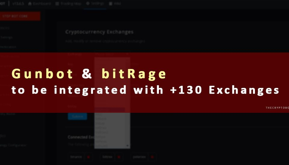 Gunbot & bitRage to be integrated with +130 Exchanges