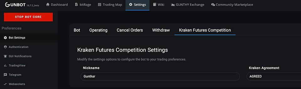 Gunbot Kraken Futures Competition Screen